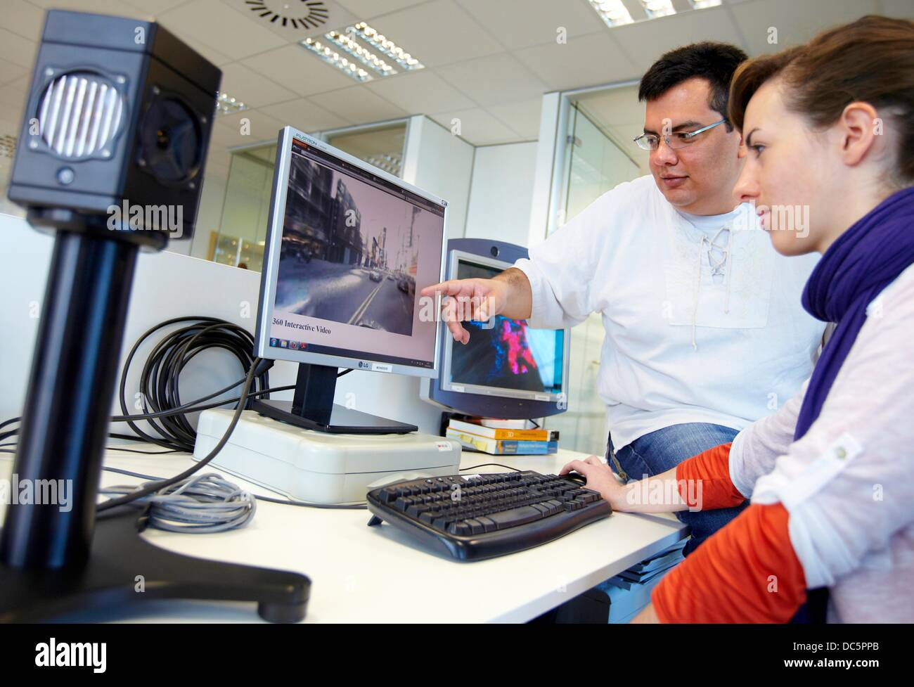 Omnidirectional video demo, smart systems for transportation and engineering, Vicomtech-IK4 Visual Interaction and - Stock Image