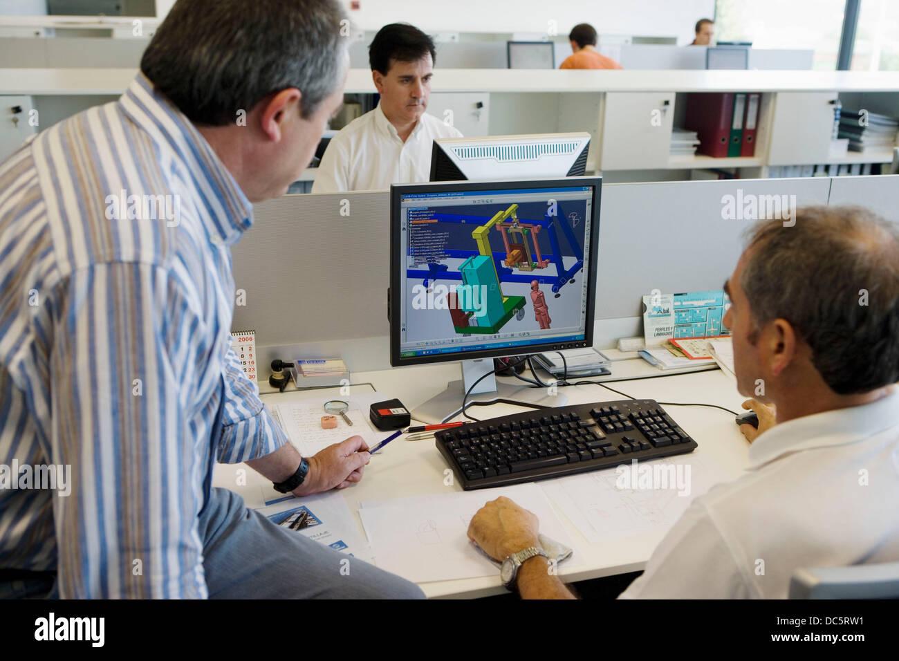 Designers working with  PCs. Cad Cam. Fatronik Foundation, Research Technology Center. Donostia, San Sebastian, - Stock Image