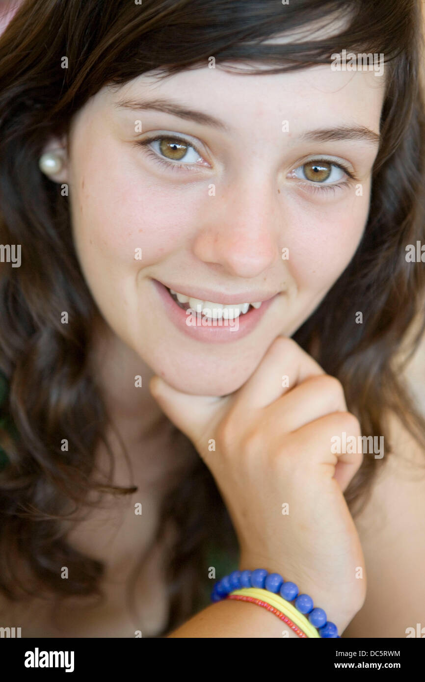 Seventeen year old girl - Stock Image