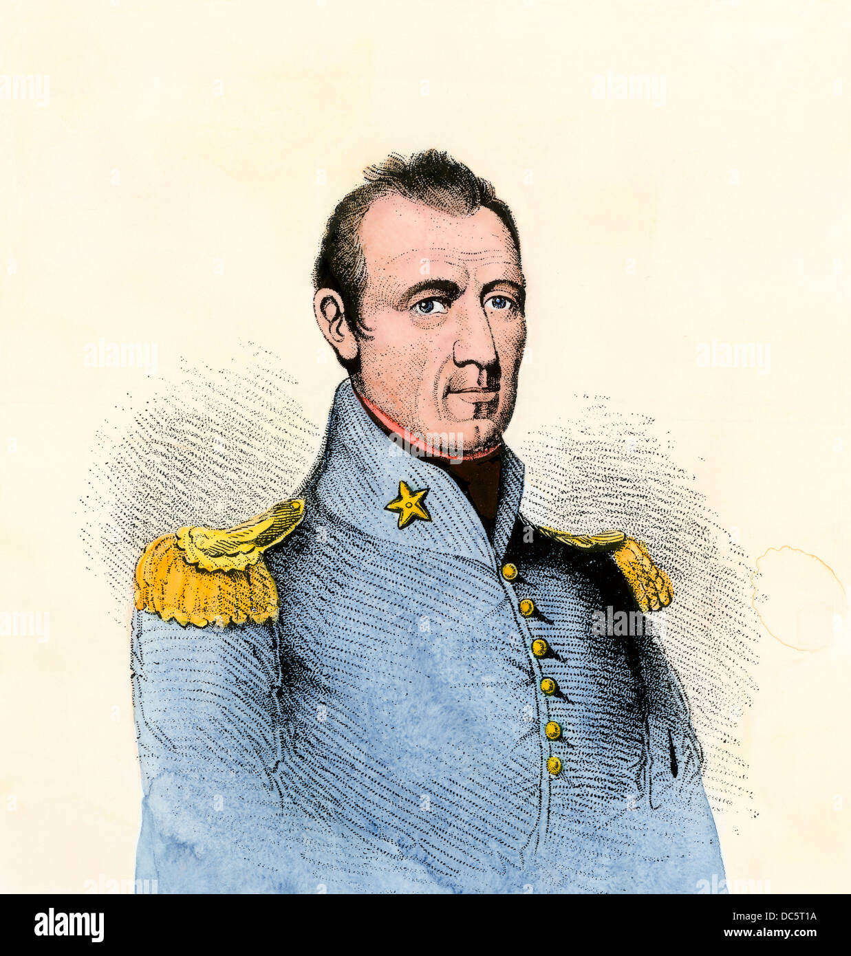 Sam Houston in the 1830s. Hand-colored woodcut - Stock Image