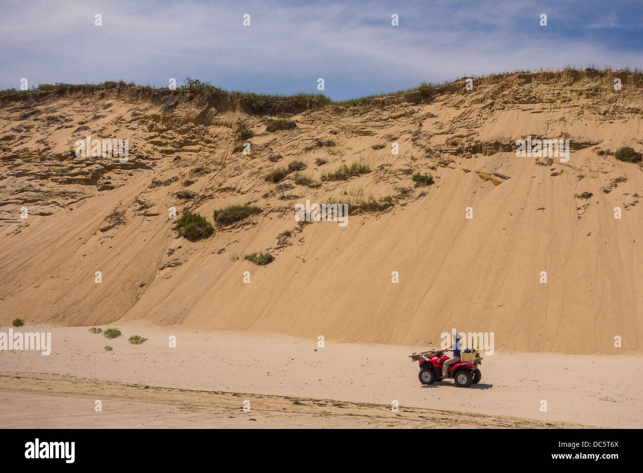 CAPE COD, MASSACHUSETTS, USA - ATV and sand dunes at White Crest beach near town of Wellfleet. - Stock Image