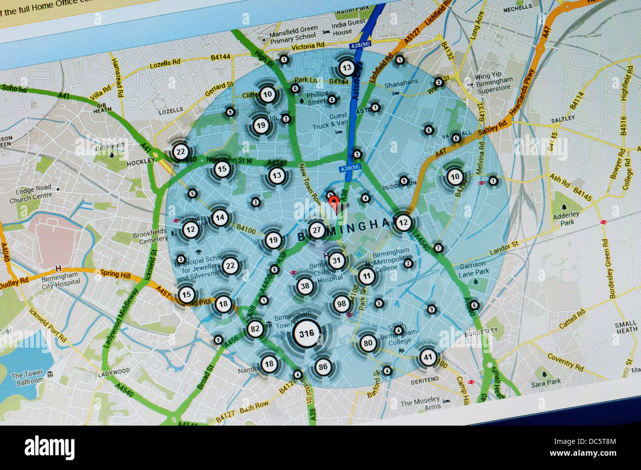incidence of crime in central birmingham shown on crime map from policeuk