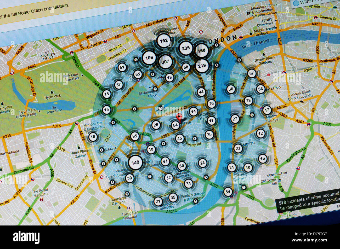 Incidence of crime in central London Westminster area shown on crime