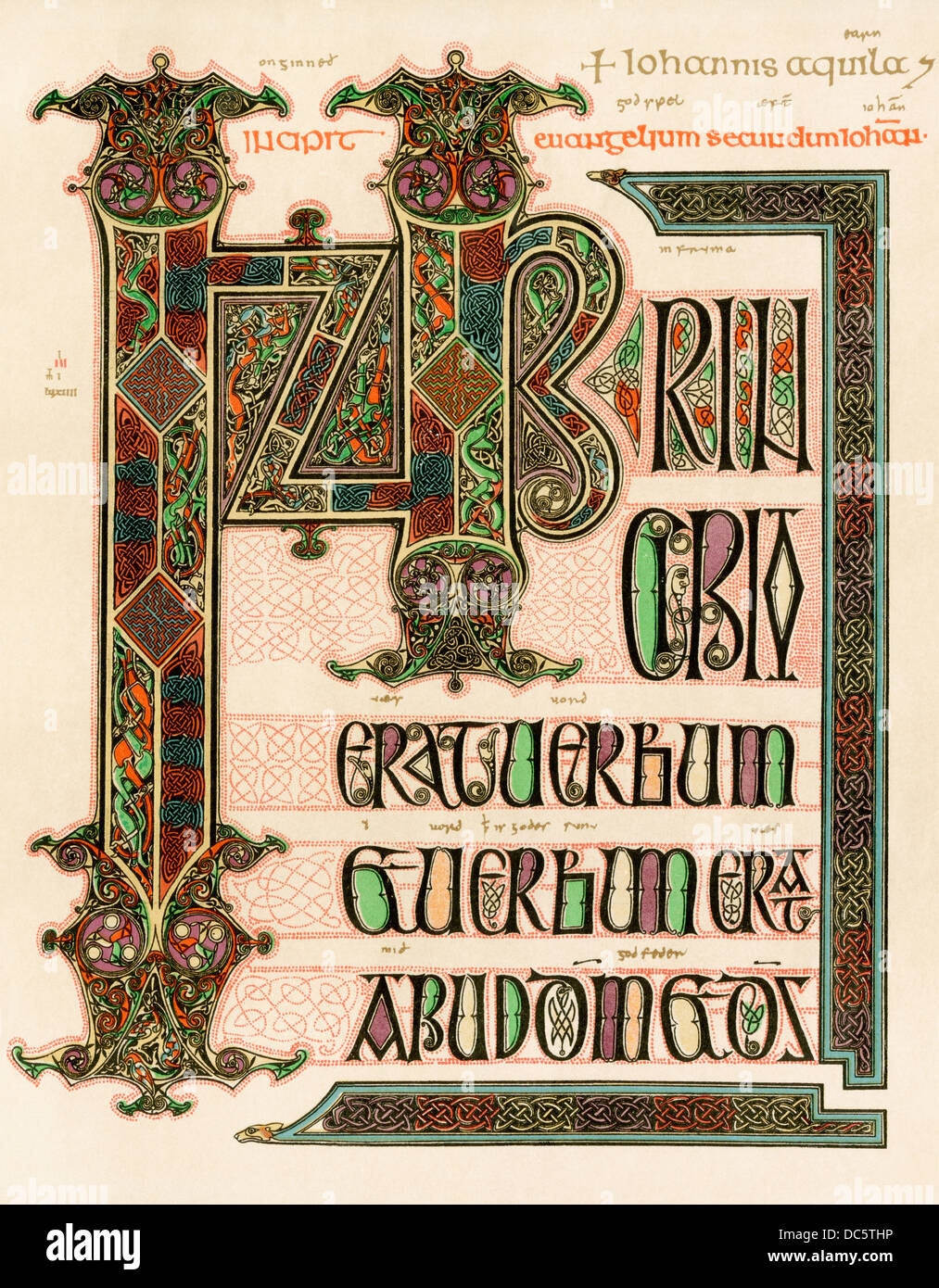 Illuminated manuscript page of the Lindisfarne Gospels, England, circa 700  AD. Color lithograph reproduction