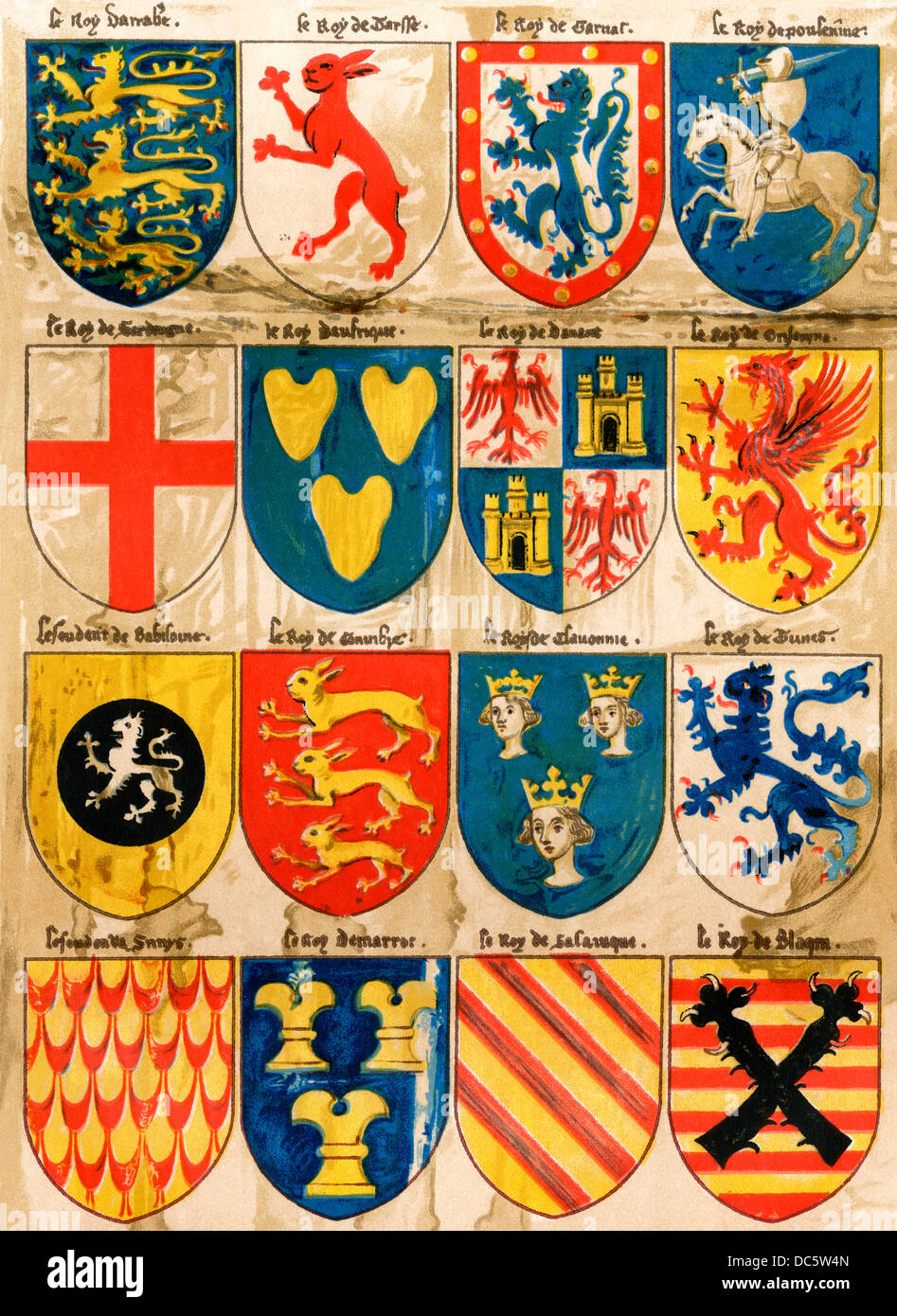 Shields with arms of mostly mythical sovereigns, made by an English painter, 1400s. Color lithograph reproduction - Stock Image