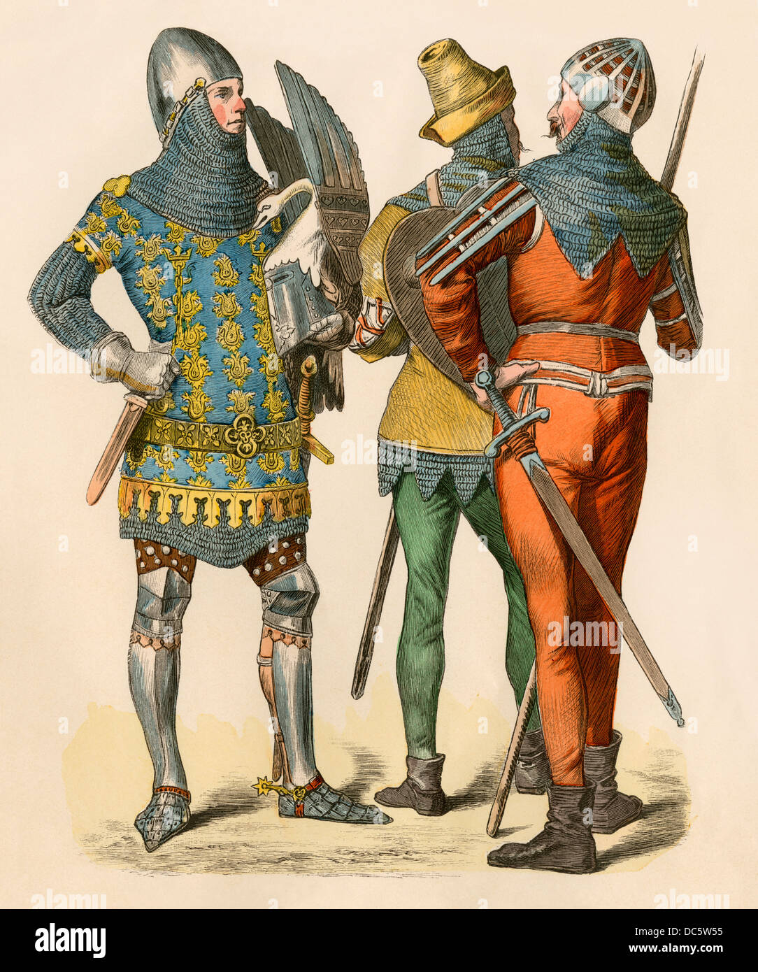 Rudolf von Sachsenhausen and fellow knights, 1300s. Hand-colored print - Stock Image