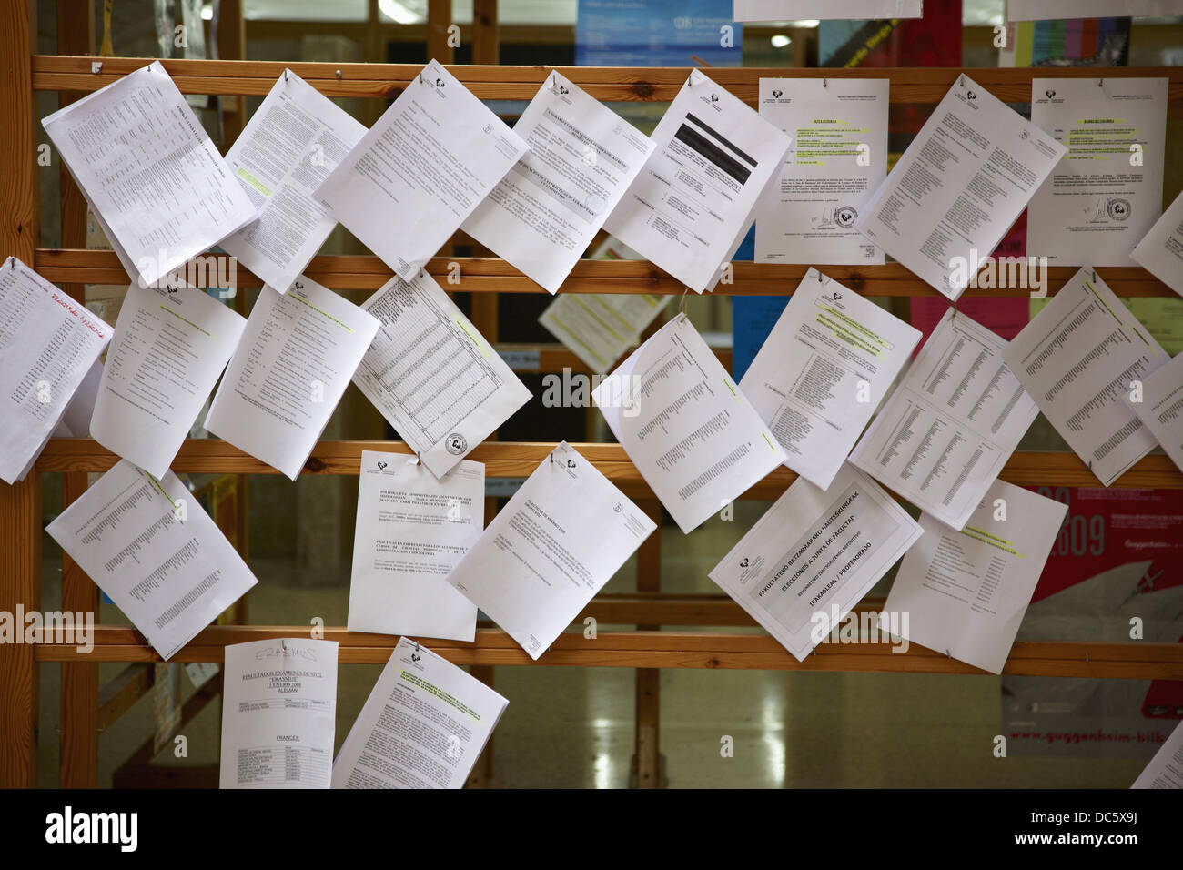 Notice board, School of Journalism and Communications, University of the Basque Country (UPV/ EHU), Leioa campus, - Stock Image