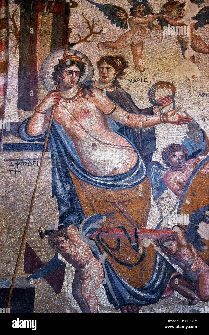 Syria, Hauran, Museum of Shahba: detail of the mosaic of Aphrodite and Aris love, 3rd Century - Stock Image
