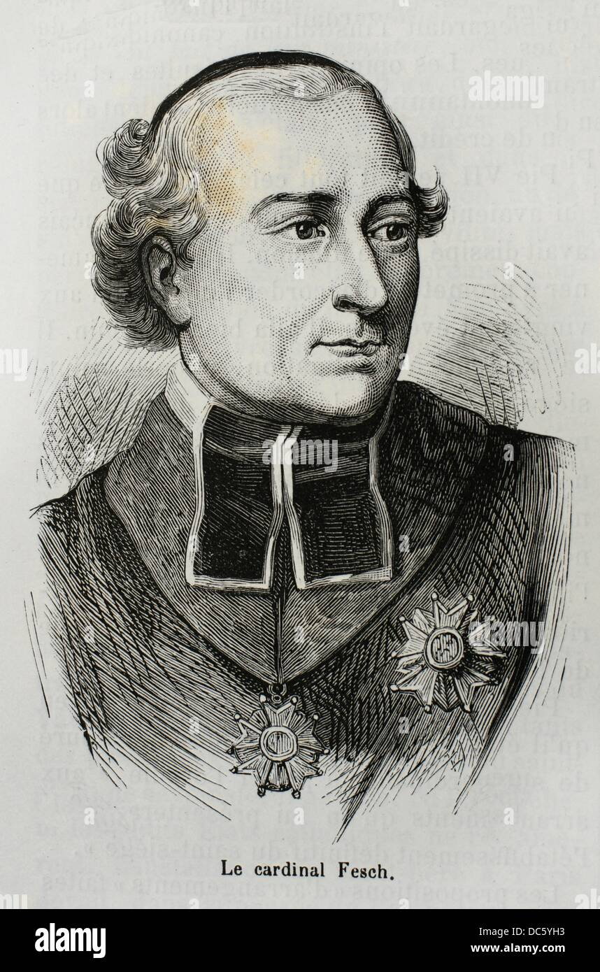 France, History, 19th Century - Joseph Fesch January 3, 1763 - May 13, 1839 was a French cardinal, closely associated - Stock Image