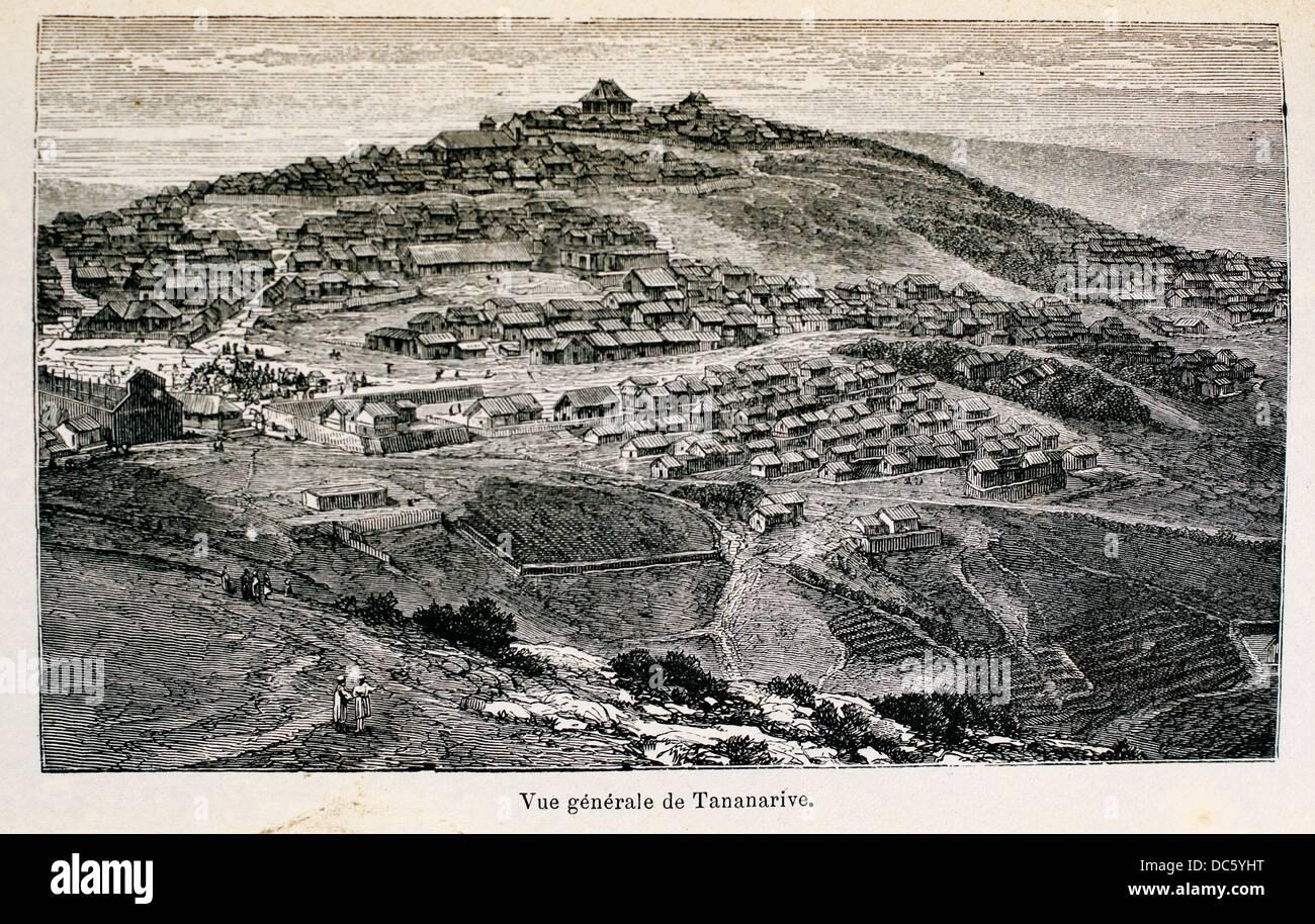 France, Madagascar: ´Vue générakle de Tananarive´, from the book ´Madagascar, la reine - Stock Image