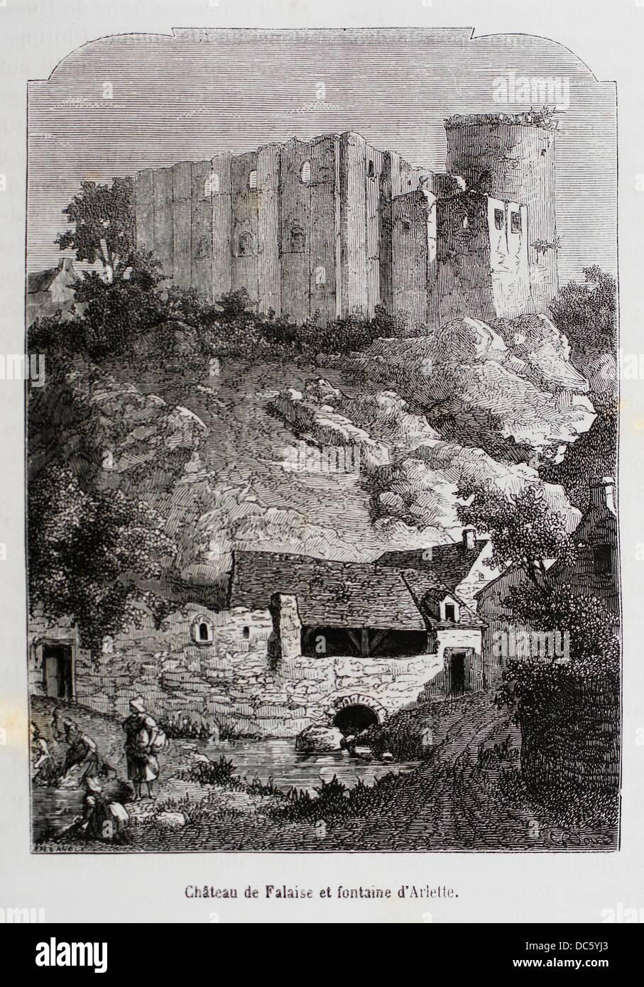 France-History- ´ Château de Falaise et fontaine d´Arlette ´- The Château de Falaise is - Stock Image