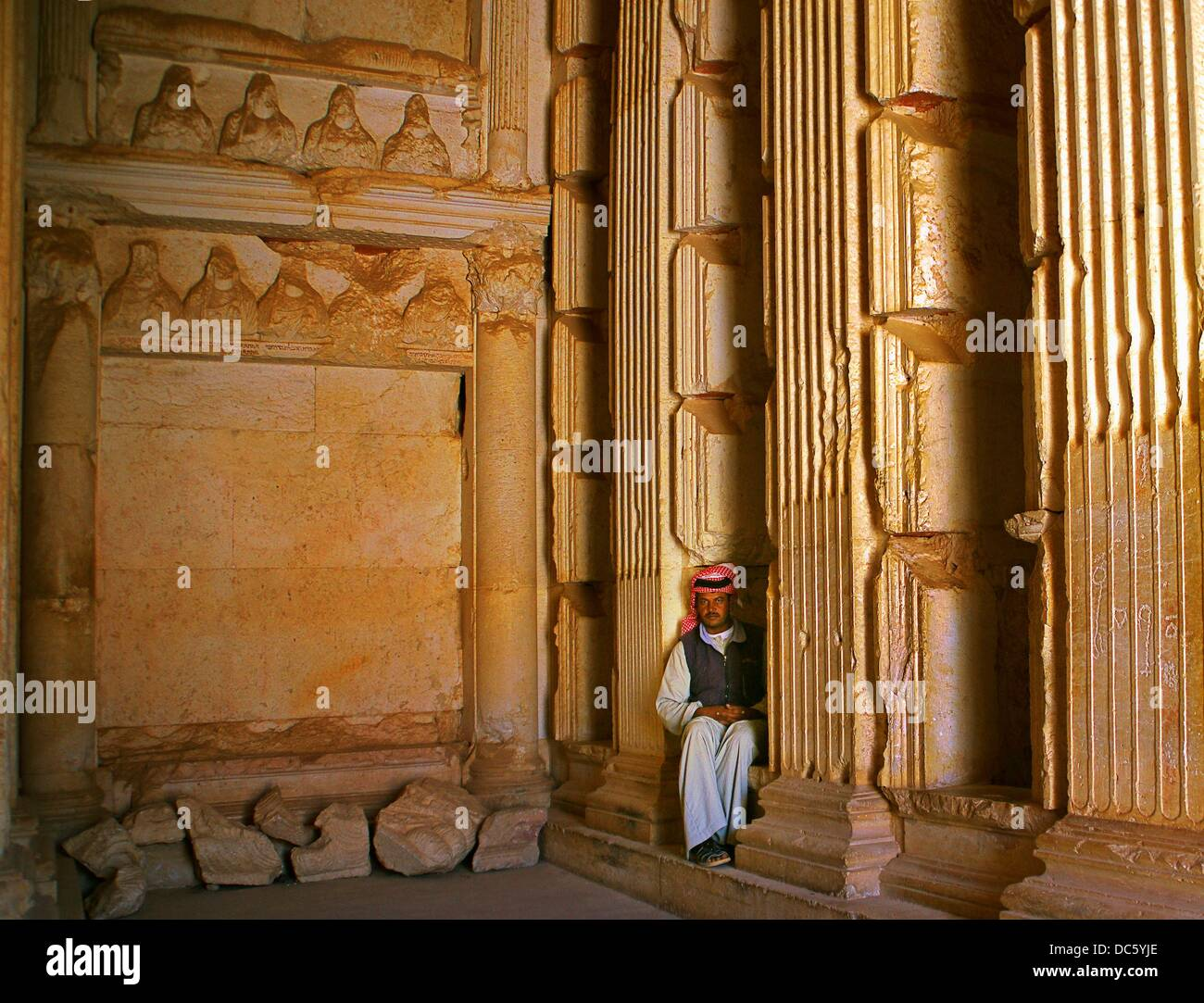 Inside the Elahbel tomb (105 BC), Palmyra, Syria - Stock Image