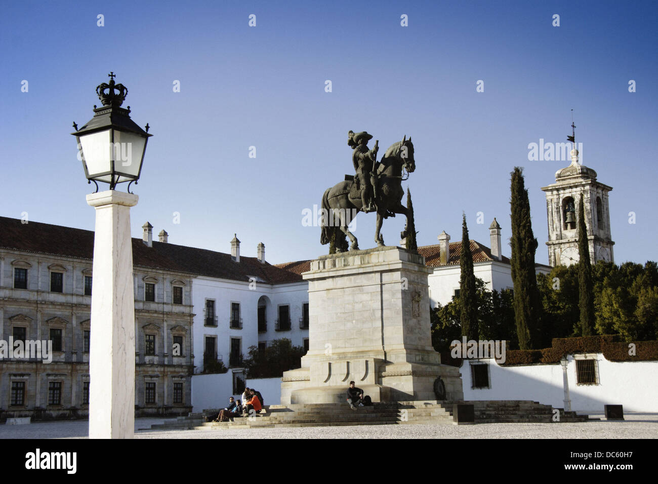 Equestrian statue of King João IV in front of the Ducal Palace, Vila Viçosa. Alentejo, Portugal - Stock Image