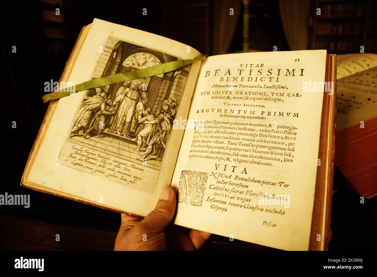 ´Vitae Beatissimi Benedicti´ preserved at the library of the Leyre monastery. Navarra, Spain - Stock Image