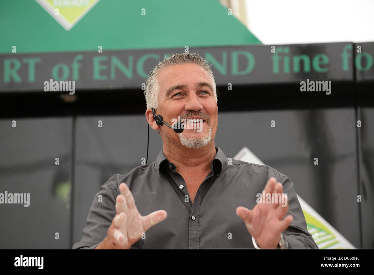 Shrewsbury Flower Show Uk 9th August 2013. Television celebrity baker Paul Hollywood demonstrating his baking. Credit: - Stock Image