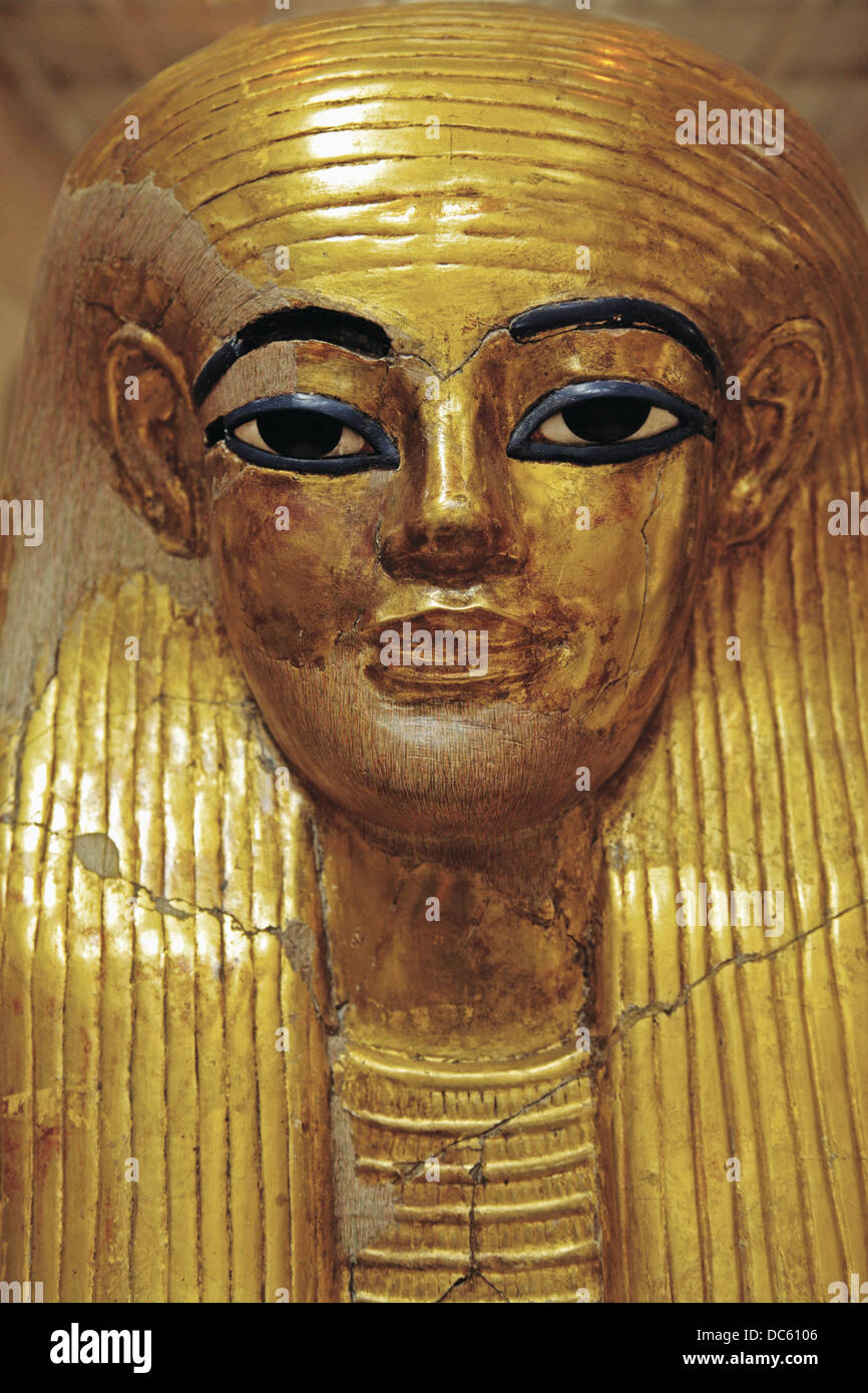 Egyptian Museum: Death mask from the tomb of Yuya and Thuya. El Cairo, Egypt. - Stock Image