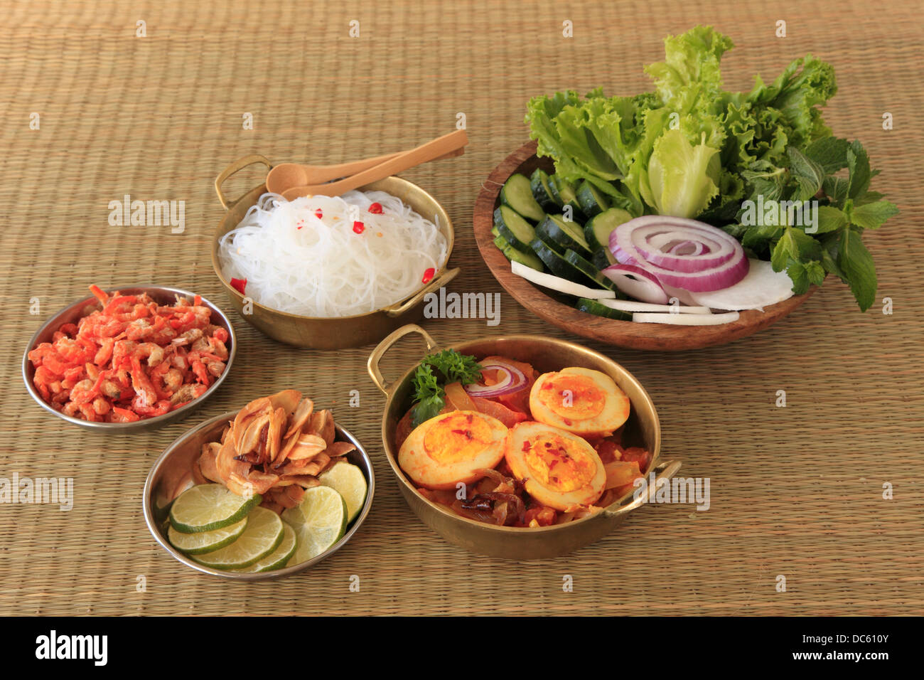Burmese Egg Curry Rice Noodles Salad Side Dishes Stock