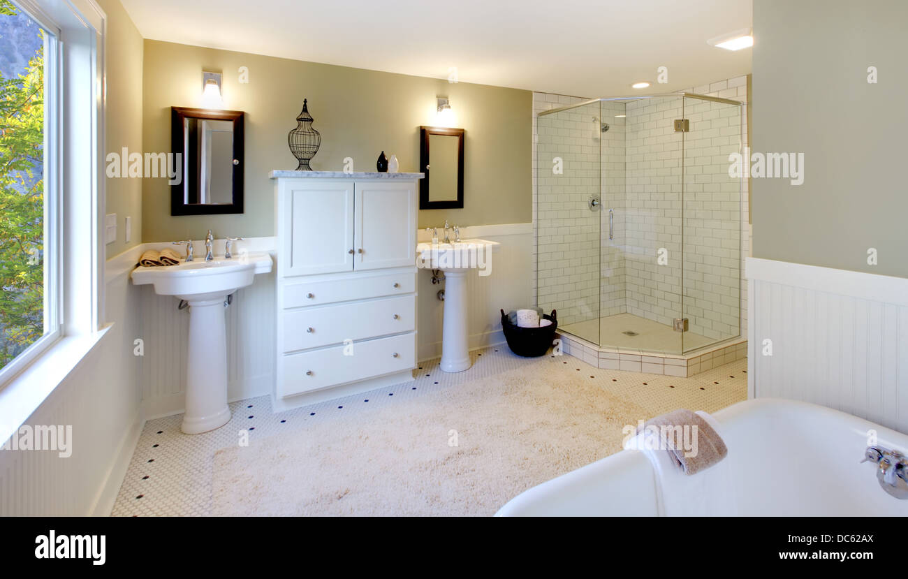 Luxury Bathroom With Tub And Modern Shower And Double Sink Stock Photo Alamy