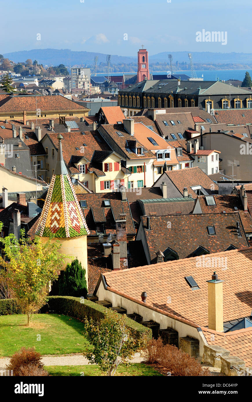 Neuchatel city, Switzerland - Stock Image