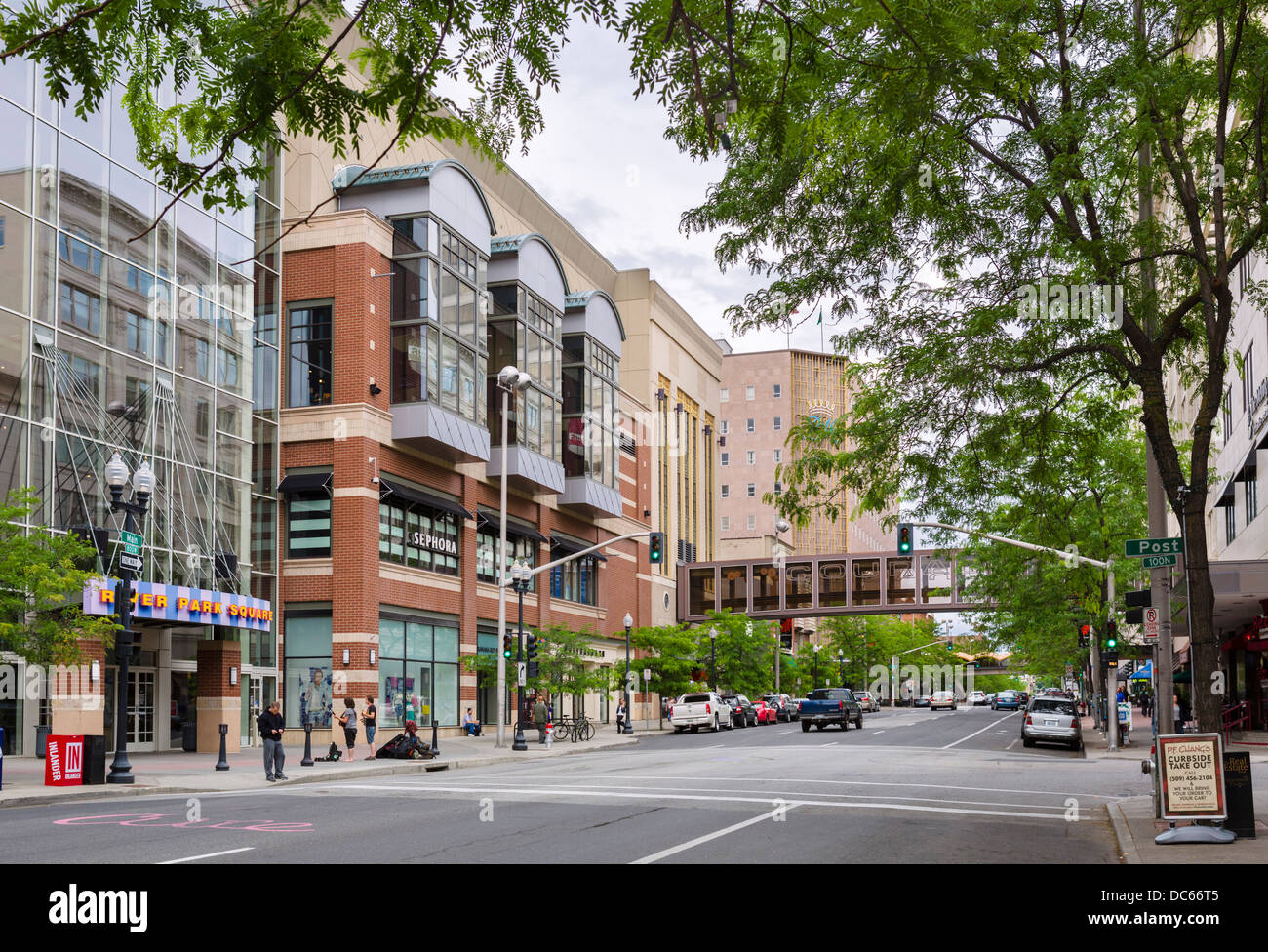 West Main Avenue at River Park Square in downtown Spokane, Washington , USA Stock Photo