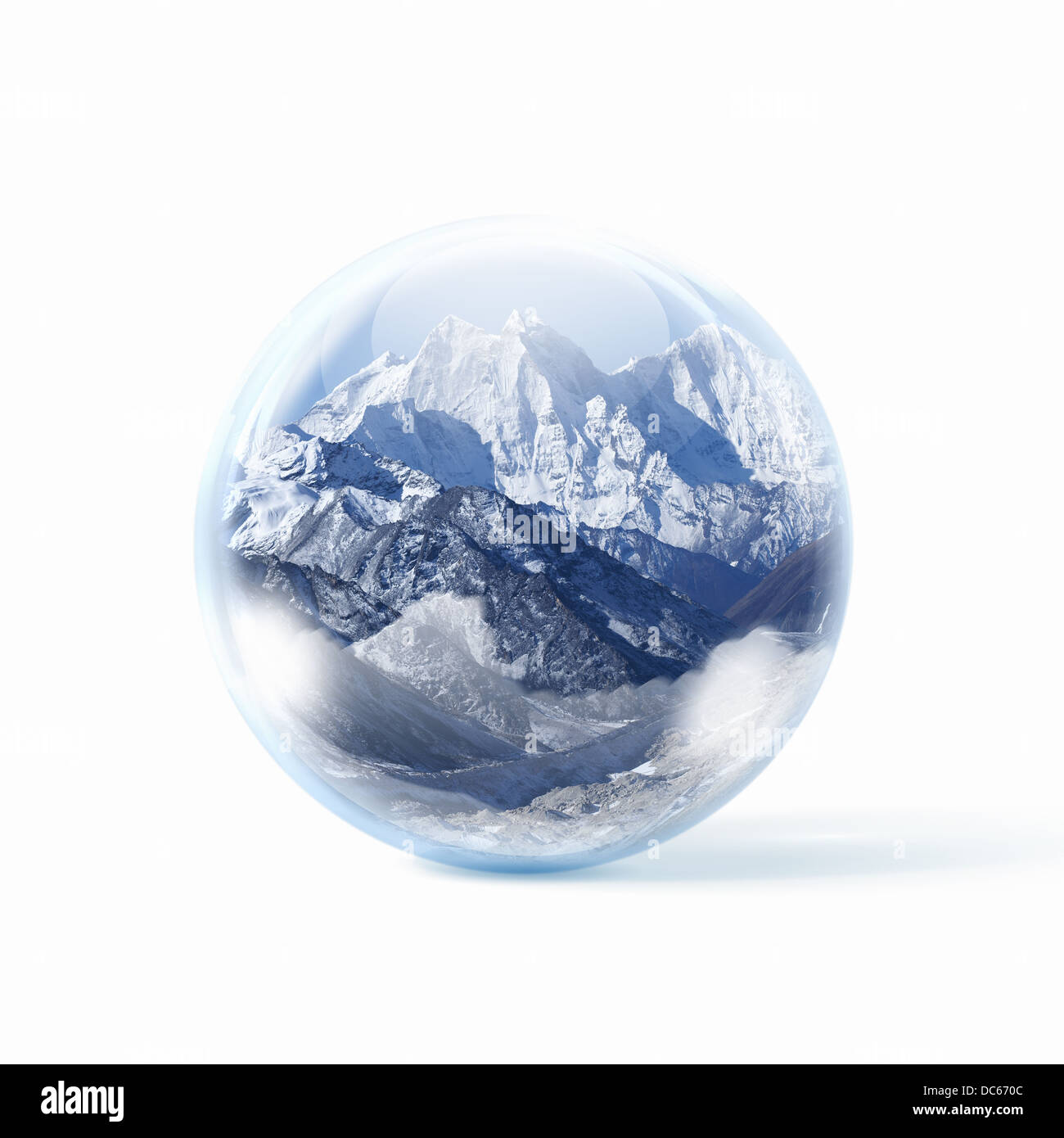 Snow mountains inside a glass ball - Stock Image
