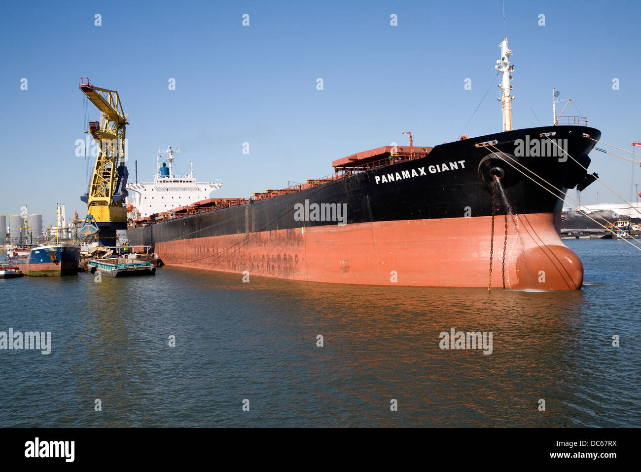 Panamax Giant bulk carrier ship in Botlek Port of Rotterdam, Netherlands - Stock Image