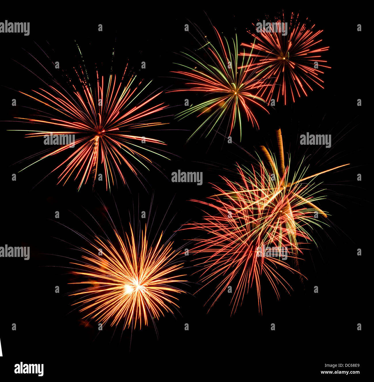 Fireworks display in a black night sky - Stock Image