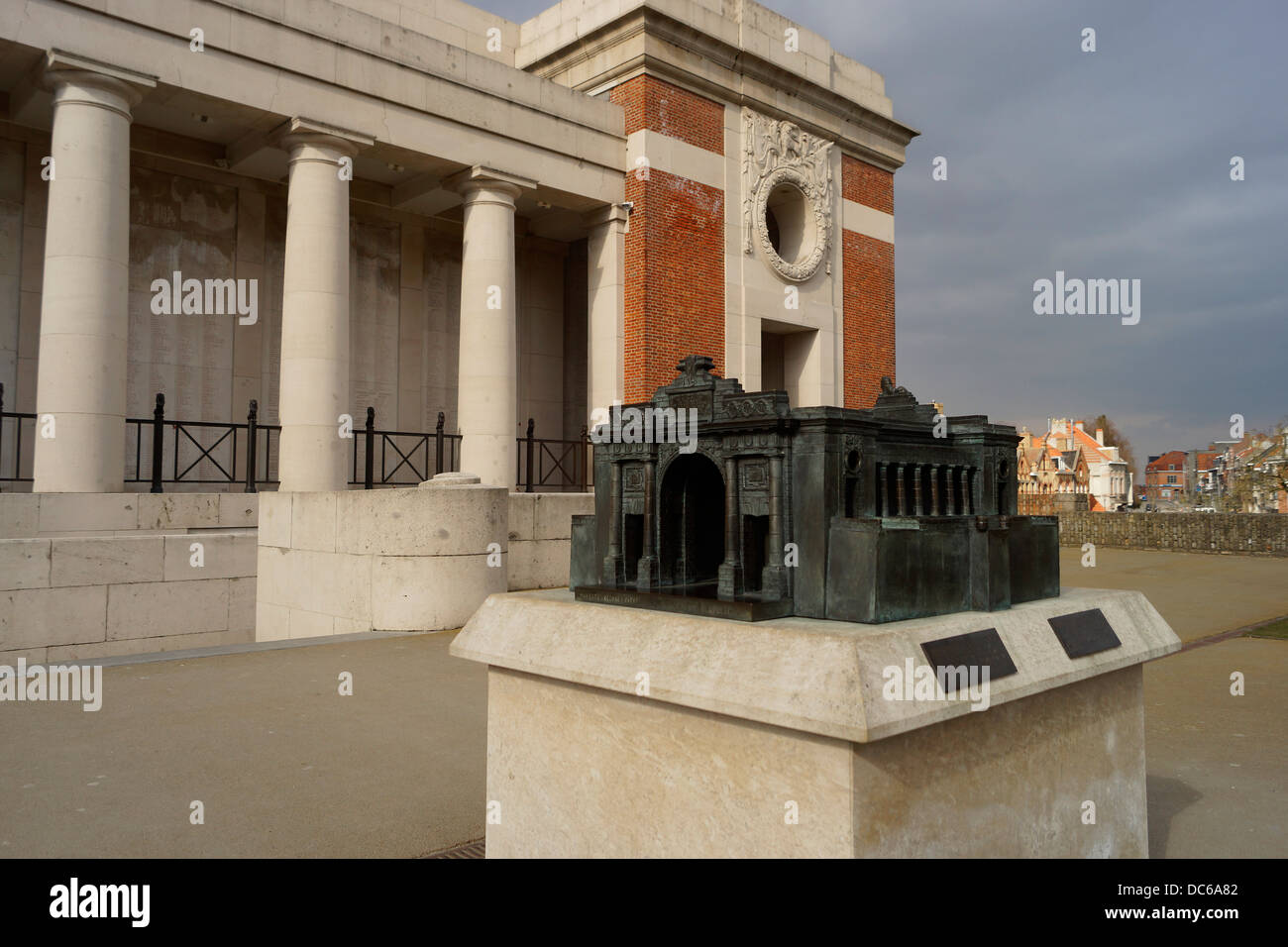 View of the Menin Gate, Ieper / Ypres in Belgium.  Showing also a model of the structure. - Stock Image