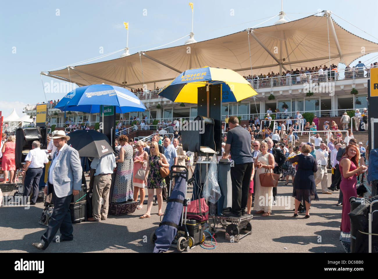 Oncourse bookmakers and the Gordon Enclosure Stands Stock Photo