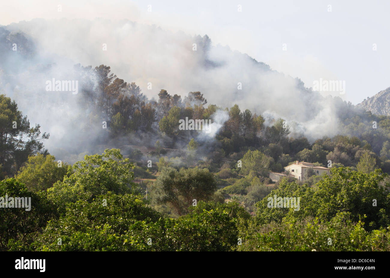 Smoke flies over Estellencs mountains in the island of Mallorca after a massive fire spread around 2300 hectares. - Stock Image
