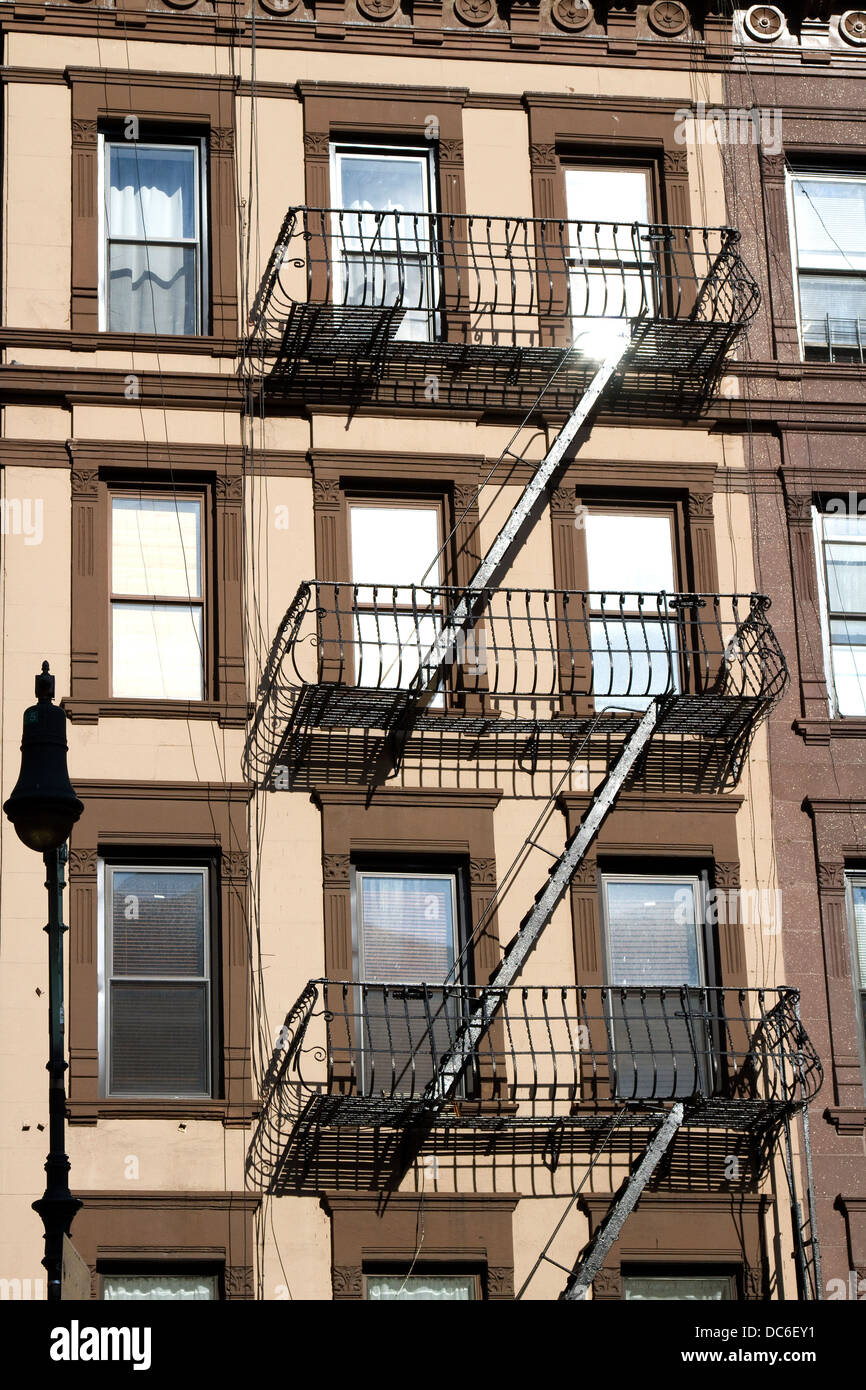New York City apartments with fire escape. - Stock Image