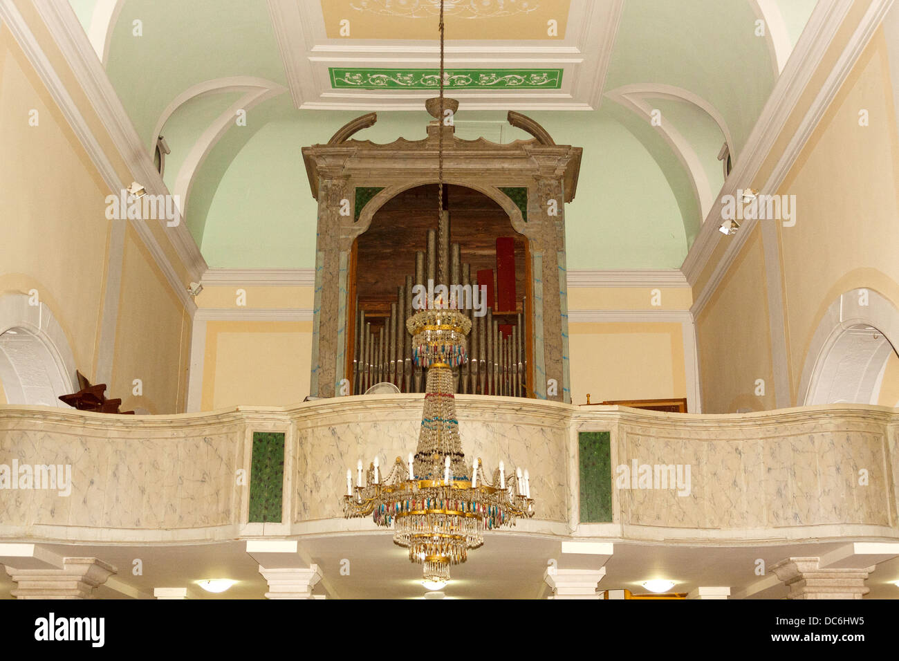 Organs in Church of the Annunciation in Supetar, Croatia - Stock Image