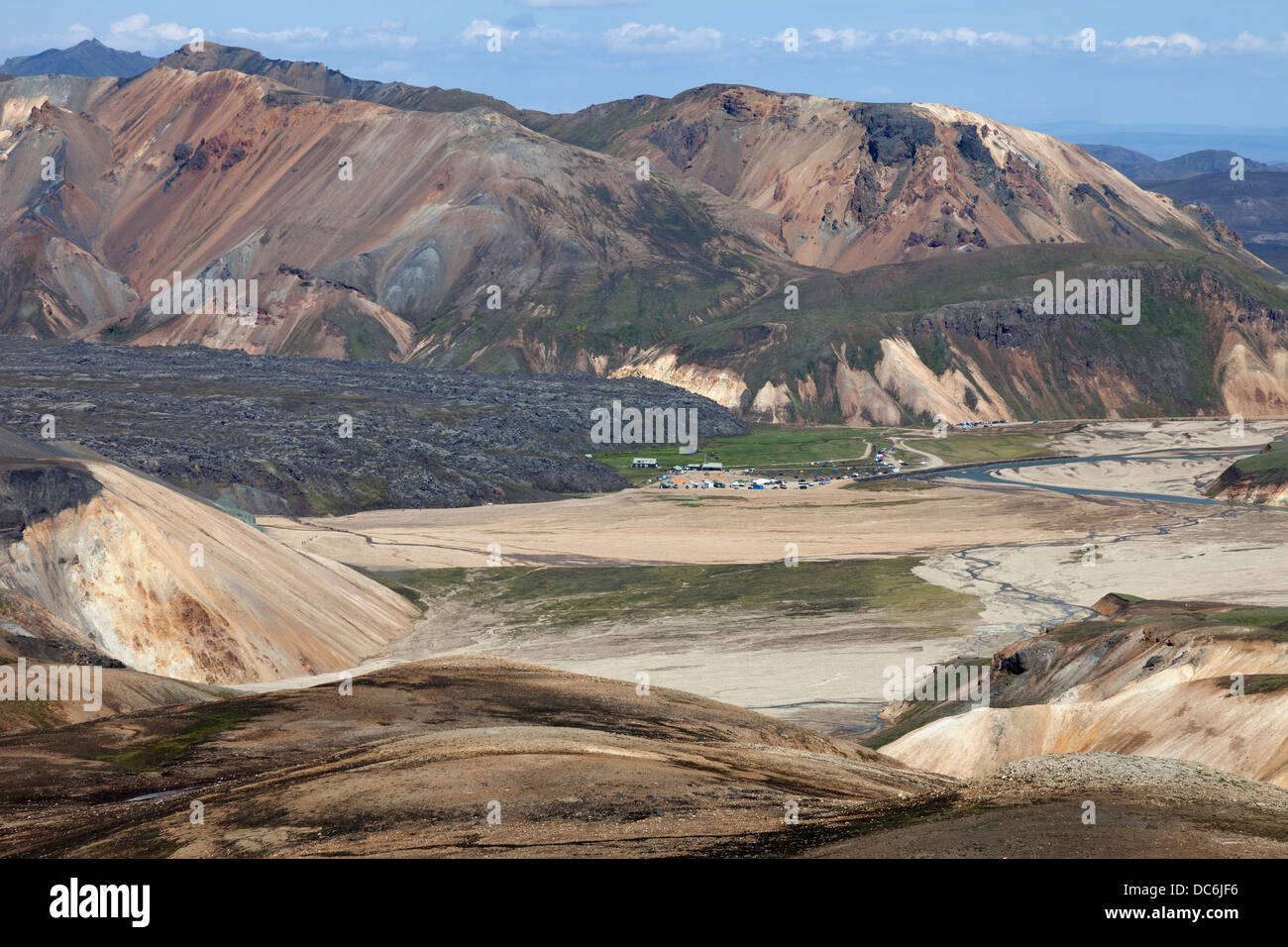 Landmannalaugar and the Laugahraun Lava Field Surrounded by the Colourful Rhyolite Mountains Fjallabak Area of Iceland - Stock Image