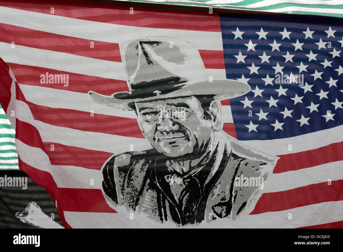 United states of America Flag with the face of a John Wayne - Stock Image