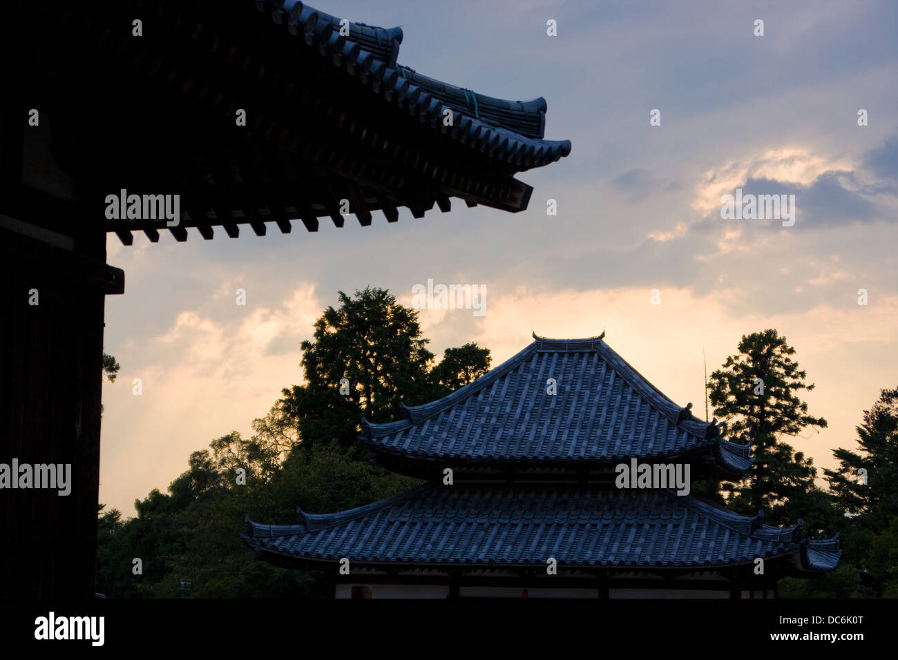 The temples of Nara, Japan, as sunset - Stock Image
