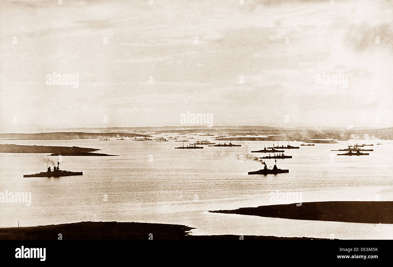 Scapa Flow The German Fleet on 28th November 1918 - Stock Image