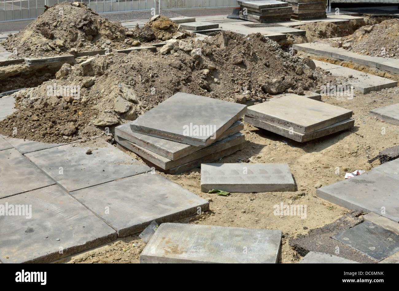 Work in progress on laying a new pavement, London, UK - Stock Image