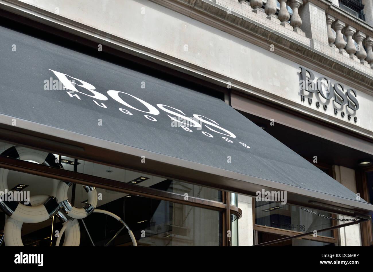 Hugo Boss men's fashion store in Regent Street, London, UK. - Stock Image