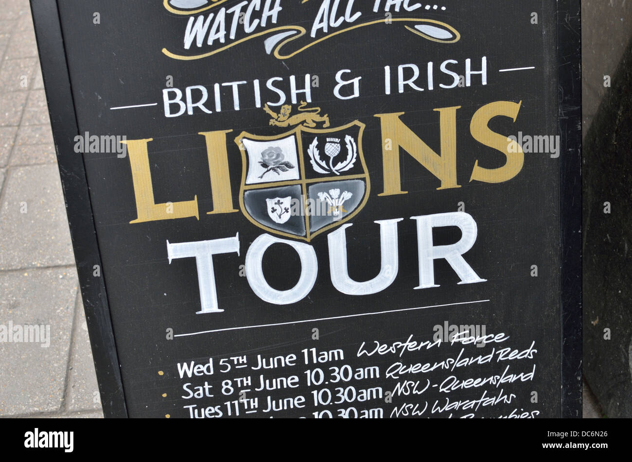 A Board outside a UK pub advertising televised British and Irish Lions Rugby Tour - Stock Image