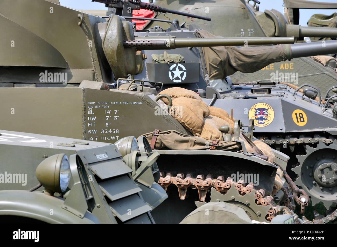 War and Peace Revival, July 2013. Folkestone Racecourse, Kent, England, UK. Armoured vehicles / heavy guns - Stock Image