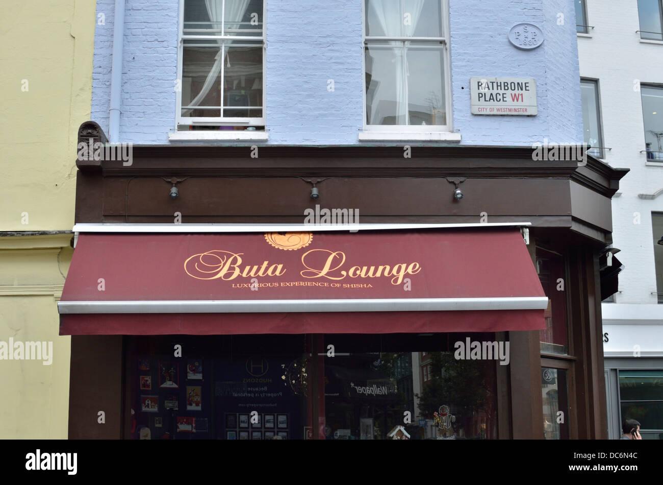 Buta Lounge, Azerbaijani shisha lounge bar and restaurant in Rathbone Place, Fitzrovia, London, UK. - Stock Image
