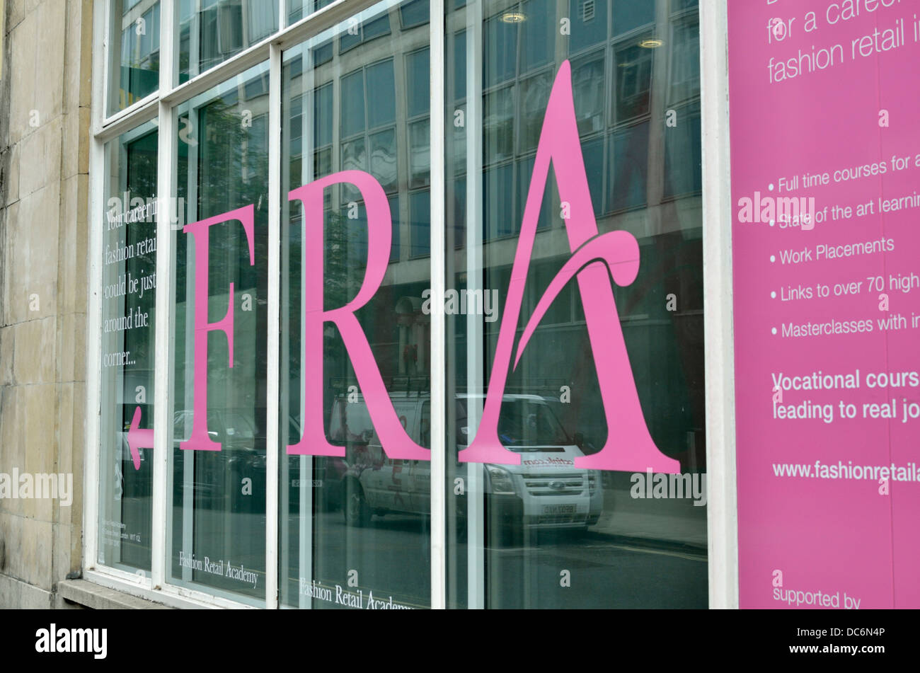 Fashion Retail Academy (FRA) offices in Rathbone Place, Fitzrovia, London, UK. - Stock Image