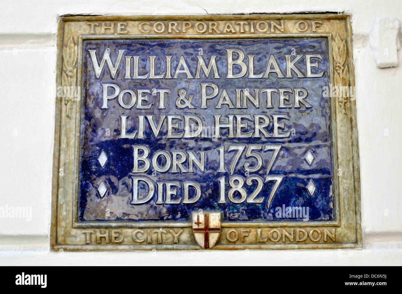 William Blake memorial plaque outside his former home in South Molton Street, Mayfair, London, UK. - Stock Image