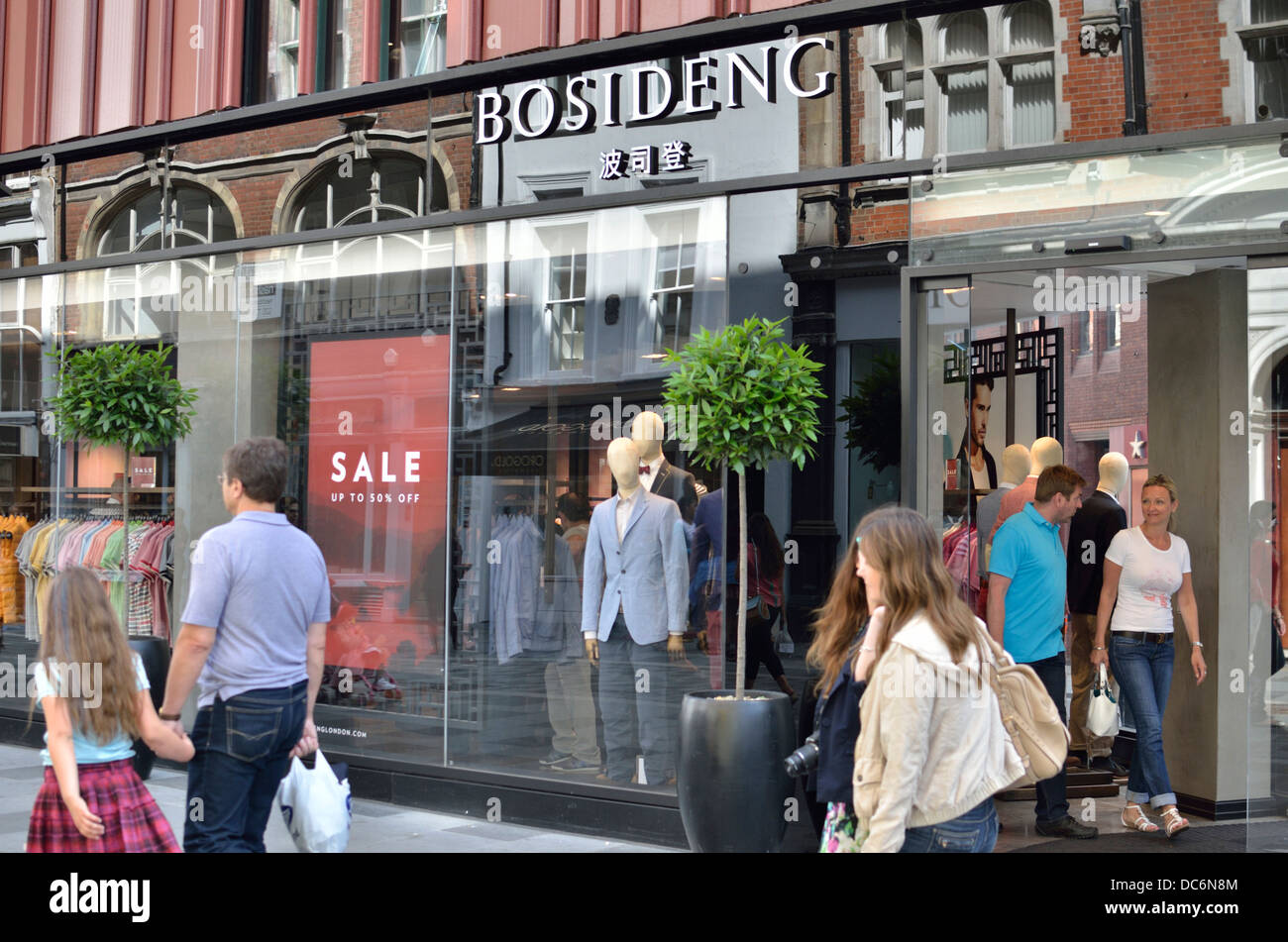 Bosideng men's fashion store in South Molton Street, Mayfair, London, UK. - Stock Image