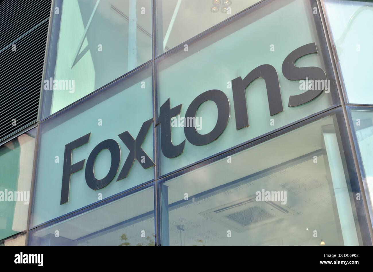 Foxtons estate agent sign, Camden Town, London, UK - Stock Image