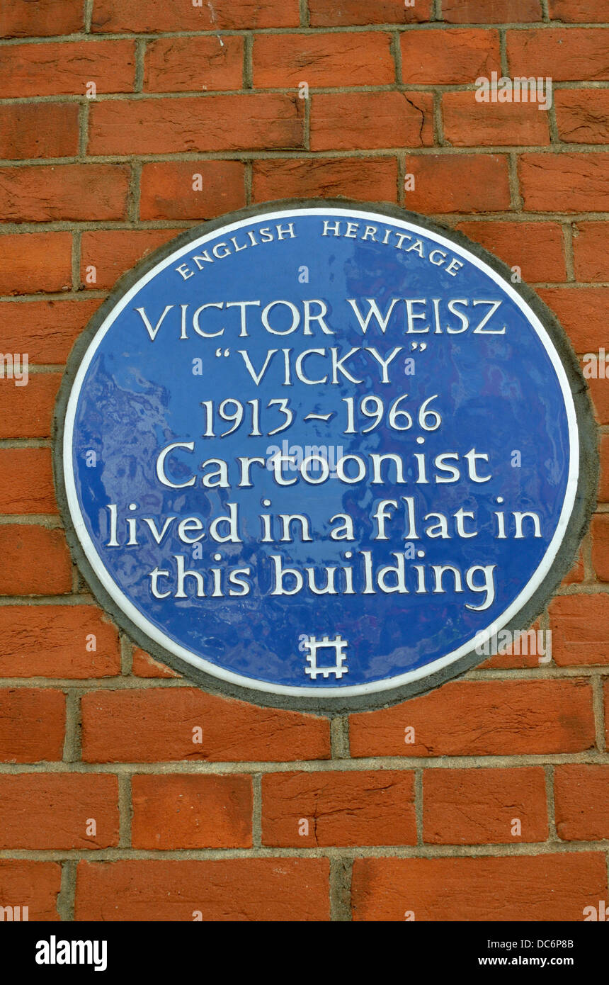 Victor Weisz (Vicky) English Heritage blue memorial plaque at 35 Welbeck Street, Marylebone, London, UK. - Stock Image