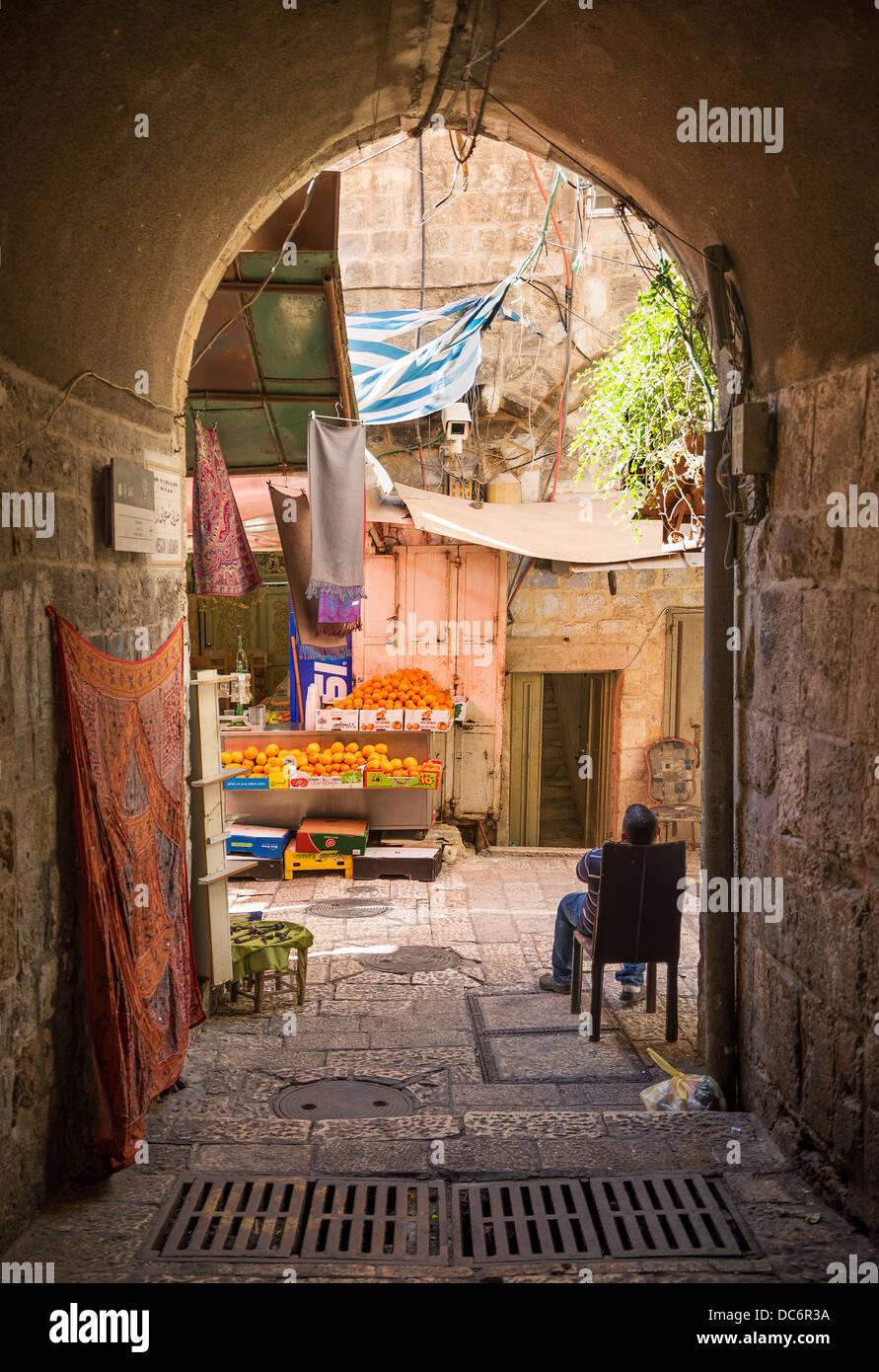 old town street shop of jerusalem israel - Stock Image