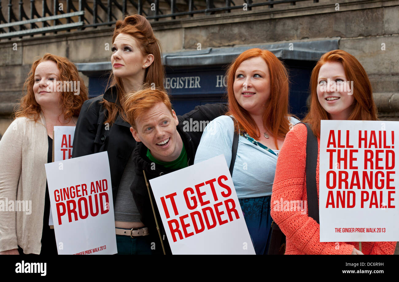 Edinburgh,UK. 10th August 2013. A red-haired comedian leads a march across Edinburgh in the name of Ginger pride. Stock Photo