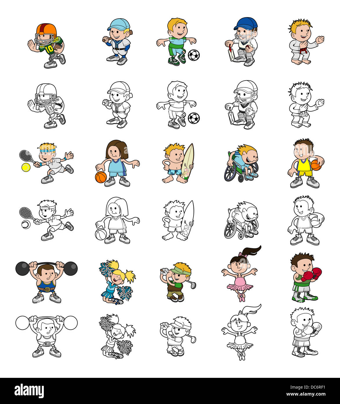 A set of cartoon people or children playing sports. Color and black and white outline versions. - Stock Image