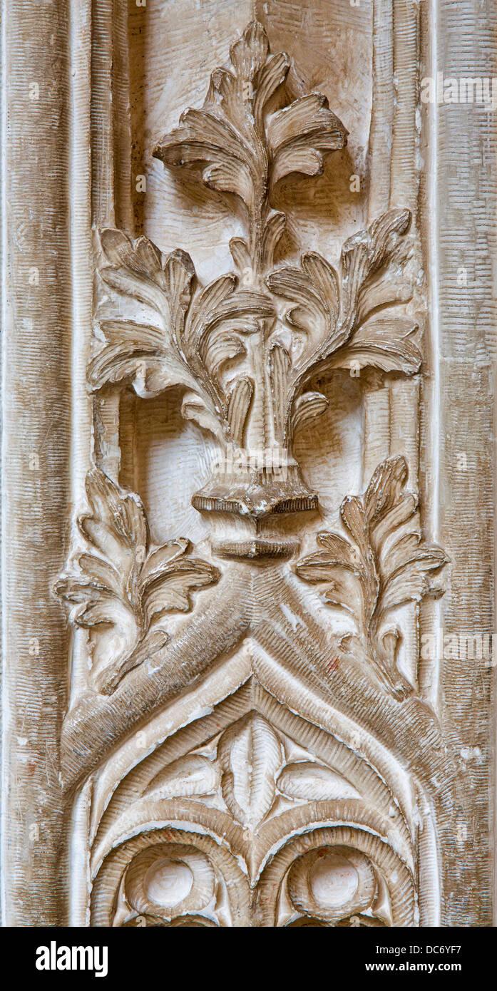 TOLEDO - MARCH 8: Gothic lily from gothic atrium of Monasterio San Juan de los Reyes or Monastery of Saint John - Stock Image